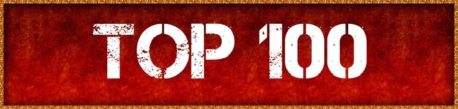 Distressed font text TOP 100 on red grunge board background. Illustration Stock Image