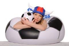 Distressed football cheerleader with  ball Stock Photos