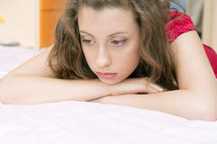 Distressed girl 2. Portrate of Distressed teen girl Royalty Free Stock Image