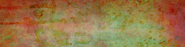 Distressed grungy background with red borders and green center with old damaged grunge texture and watercolor paint drips drops an