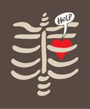 Distressed heart imprisoned inside a rib cage asking for help Stock Images