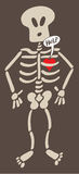 Distressed heart imprisoned inside a skeleton asking for help. Cartoon red heart feeling in captivity inside the bones of the rib cage of a surprised skeleton Royalty Free Stock Photo