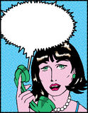 Distressed Lady. 1950's style comic book lady on phone with speech bubble Stock Photography