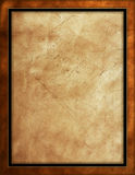 Distressed Leather Background. With brown, black & gold border Stock Images