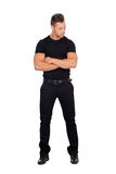 Distressed man black dress Stock Photo