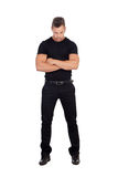 Distressed man black dress. Isolated on white background Royalty Free Stock Photos