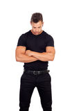 Distressed man in black. Isolated on a white background Stock Images