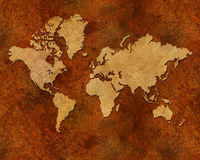 Distressed metallic global map Royalty Free Stock Photos