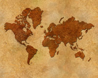 Distressed metallic global map Stock Image