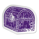 Distressed old sticker of a treasure chest. A creative illustrated distressed old sticker of a treasure chest royalty free illustration