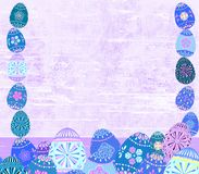 Distressed Easter egg and wood textured spring frame background royalty free stock photo