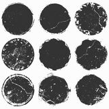 Bold Stamp Backgrounds. Distressed post Stamp texture set. Circle grunge scratched lable background. Aged bold thin round cover template. Used circular icon Royalty Free Stock Photo