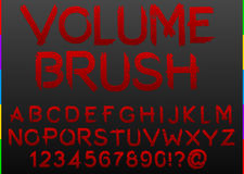 Distressed red paint brush grunge font alphabet Royalty Free Stock Image