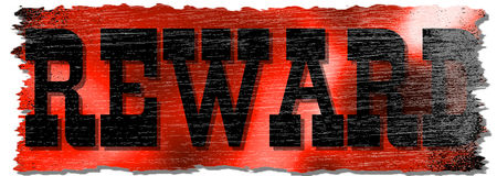 Distressed Red Reward Sign. A distressed sign that says REWARD with a blurred red and white backgorund for use in website wallpaper design, presentation, desktop royalty free illustration