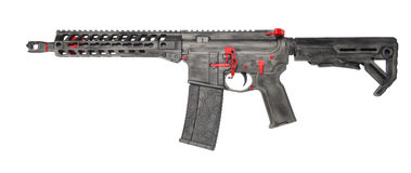 Distressed SBR AR15 grey with red controls and a 30rd mag royalty free stock images