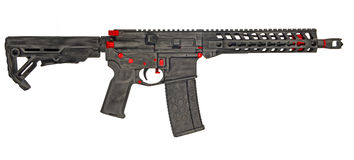Distressed SBR AR15 with 30rd mag Stock Images