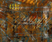 Distressed scratched rusted metal. Colorful scrap heap with years of wear and tear stock photography