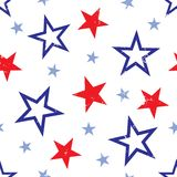 Distressed Stars Background Illustration. Background illustration of red and blue stars on white background Royalty Free Stock Photography