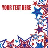 Distressed Stars Background Illustration. Background illustration of red and blue stars on white background with space for text Stock Photo