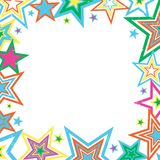 Distressed Stars Border. Illustration of bright stars border on white background with space for text Stock Image