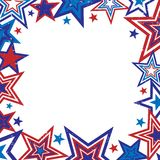 Distressed Stars Border Illust. Illustration of red and blue stars border on white background with space for text Stock Photos