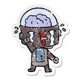 distressed sticker of a cartoon crying robot royalty free illustration