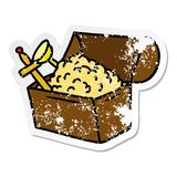 Distressed sticker cartoon doodle of a treasure chest. A creative illustrated distressed sticker cartoon doodle of a treasure chest royalty free illustration