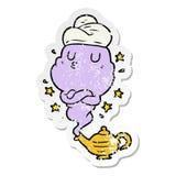 Distressed sticker of a cartoon genie. A creative distressed sticker of a cartoon genie royalty free illustration