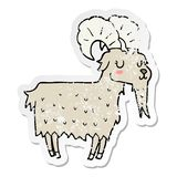 distressed sticker of a cartoon goat stock illustration