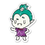 Distressed sticker cartoon illustration kawaii of cute vampire girl. A creative distressed sticker cartoon kawaii of cute vampire girl stock illustration