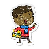 Distressed sticker of a cartoon man carol singing. A creative illustrated distressed sticker of a cartoon man carol singing royalty free illustration