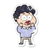 Distressed sticker of a cartoon man gasping in surprise. A creative illustrated distressed sticker of a cartoon man gasping in surprise stock illustration