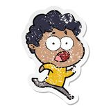 Distressed sticker of a cartoon man gasping in surprise. A creative illustrated distressed sticker of a cartoon man gasping in surprise royalty free illustration