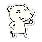 Distressed sticker of a cartoon polar bear giving thumbs up sign. Illustrated distressed sticker of a cartoon polar bear giving thumbs up sign vector illustration