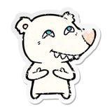 Distressed sticker of a cartoon polar bear showing teeth. Illustrated distressed sticker of a cartoon polar bear showing teeth royalty free illustration