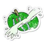 Distressed sticker of a cartoon sliced apple. A creative illustrated distressed sticker of a cartoon sliced apple royalty free illustration