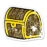 Distressed sticker of a cartoon treasure chest. Illustrated distressed sticker of a cartoon treasure chest vector illustration