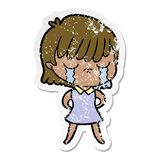 distressed sticker of a cartoon woman crying royalty free stock photography