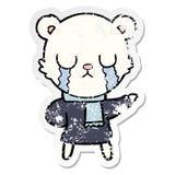 Distressed sticker of a crying polar bear cartoon. Illustrated distressed sticker of a crying polar bear cartoon vector illustration