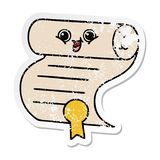 Distressed sticker of a cute cartoon contract. A creative illustrated distressed sticker of a cute cartoon contract stock illustration