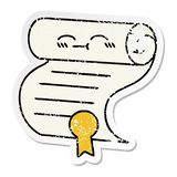 Distressed sticker of a cute cartoon contract. A creative illustrated distressed sticker of a cute cartoon contract royalty free illustration