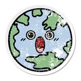 Distressed sticker of a cute cartoon planet earth. A creative distressed sticker of a cute cartoon planet earth royalty free illustration