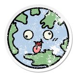 Distressed sticker of a cute cartoon planet earth. A creative distressed sticker of a cute cartoon planet earth stock illustration