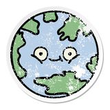 Distressed sticker of a cute cartoon planet earth. A creative illustrated distressed sticker of a cute cartoon planet earth royalty free illustration