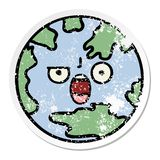 Distressed sticker of a cute cartoon planet earth. A creative illustrated distressed sticker of a cute cartoon planet earth vector illustration
