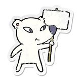 Distressed sticker of a cute cartoon polar bear with protest sign. Illustrated distressed sticker of a cute cartoon polar bear with protest sign royalty free illustration