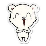 Distressed sticker of a happy cartoon polar bear. Illustrated distressed sticker of a happy cartoon polar bear vector illustration