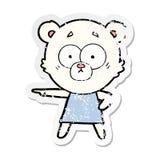 Distressed sticker of a nervous polar bear cartoon. Illustrated distressed sticker of a nervous polar bear cartoon vector illustration