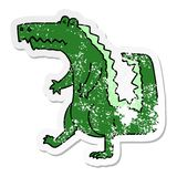 Distressed sticker of a quirky hand drawn cartoon crocodile. A creative illustrated distressed sticker of a quirky hand drawn cartoon crocodile stock illustration