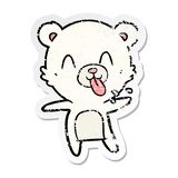 Distressed sticker of a rude cartoon polar bear sticking out tongue. Illustrated distressed sticker of a rude cartoon polar bear sticking out tongue vector illustration